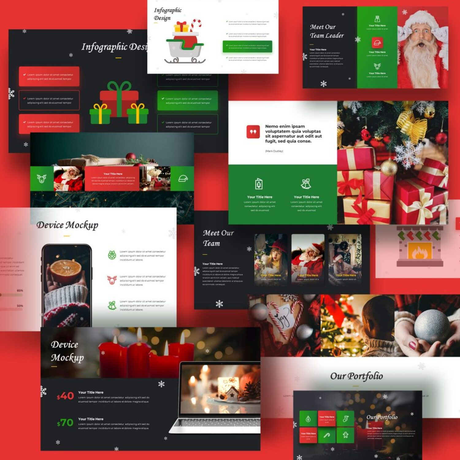 Merry Christmas Powerpoint Presentation Template cover image.