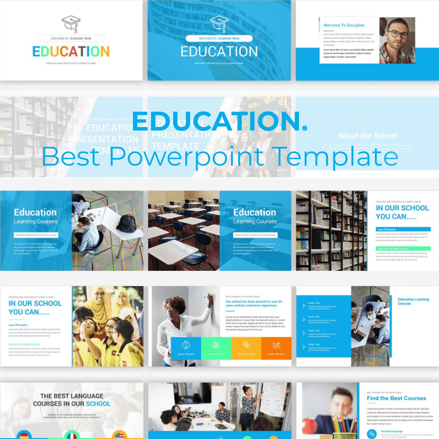 Education PowerPoint Template cover image.
