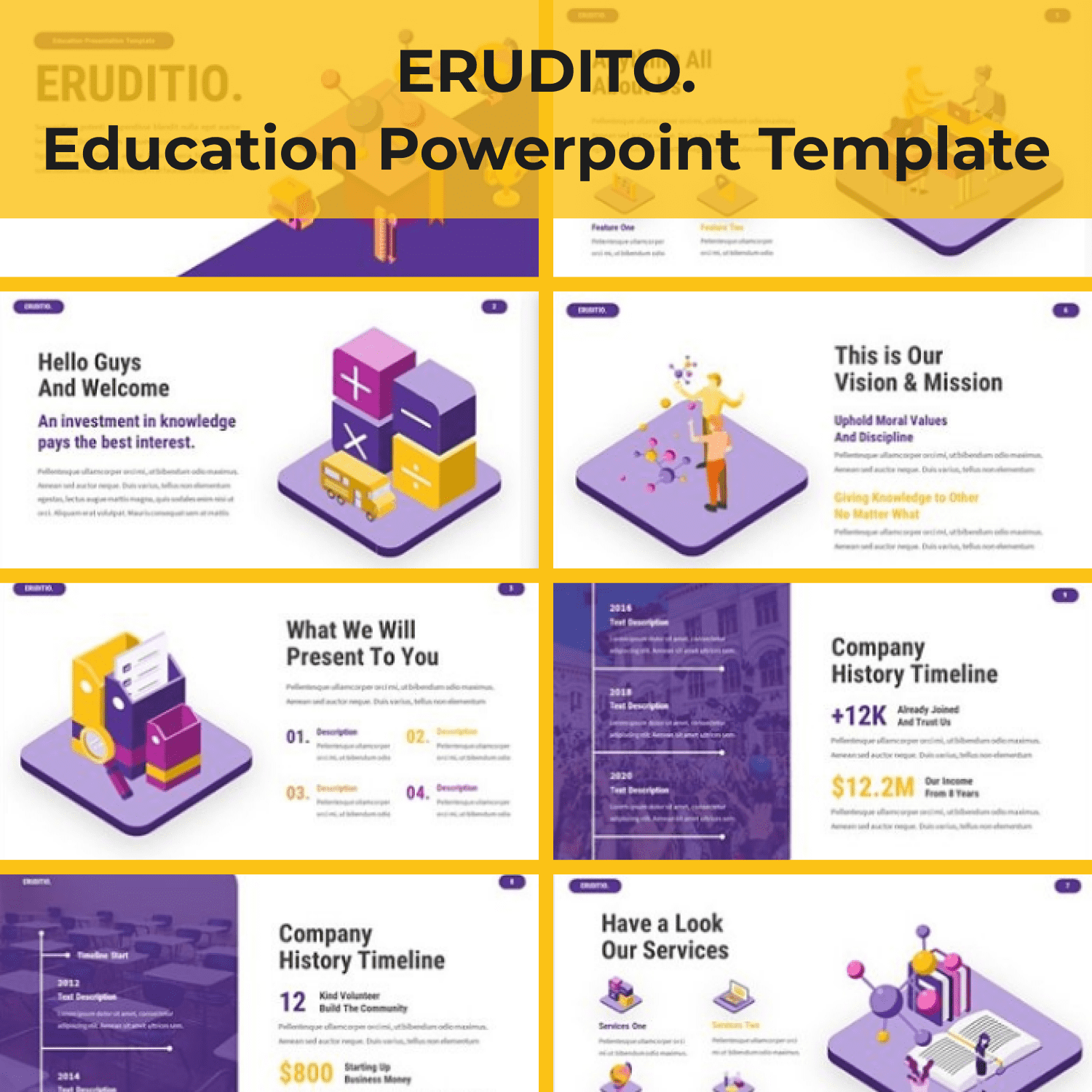 Eruditio - Education Powerpoint cover image.