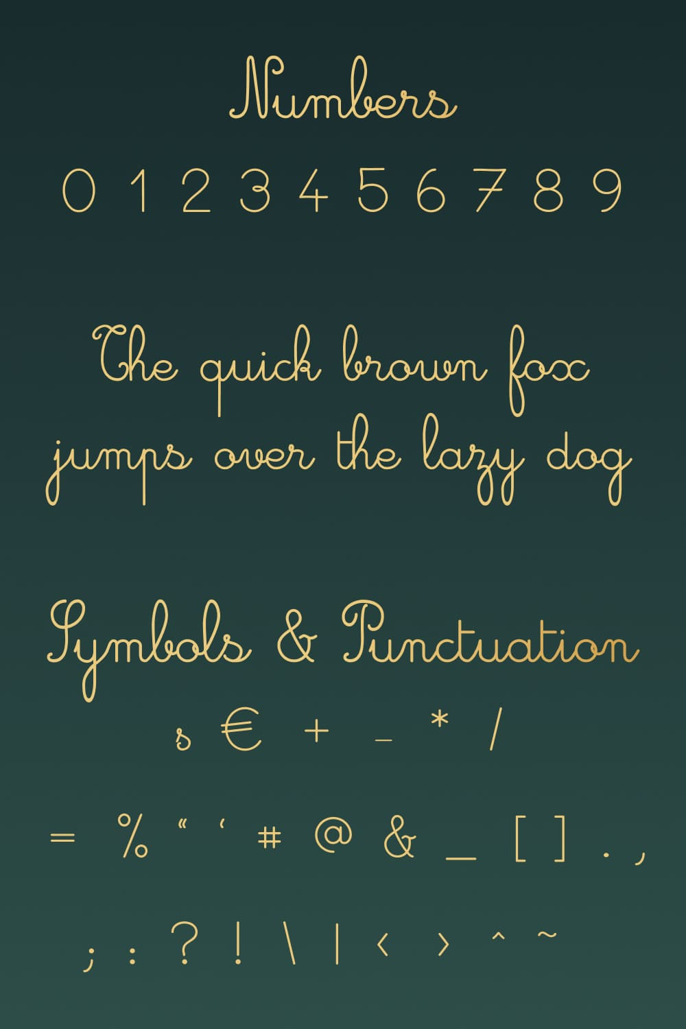Numbers and other elements of the Free Cursive Font.