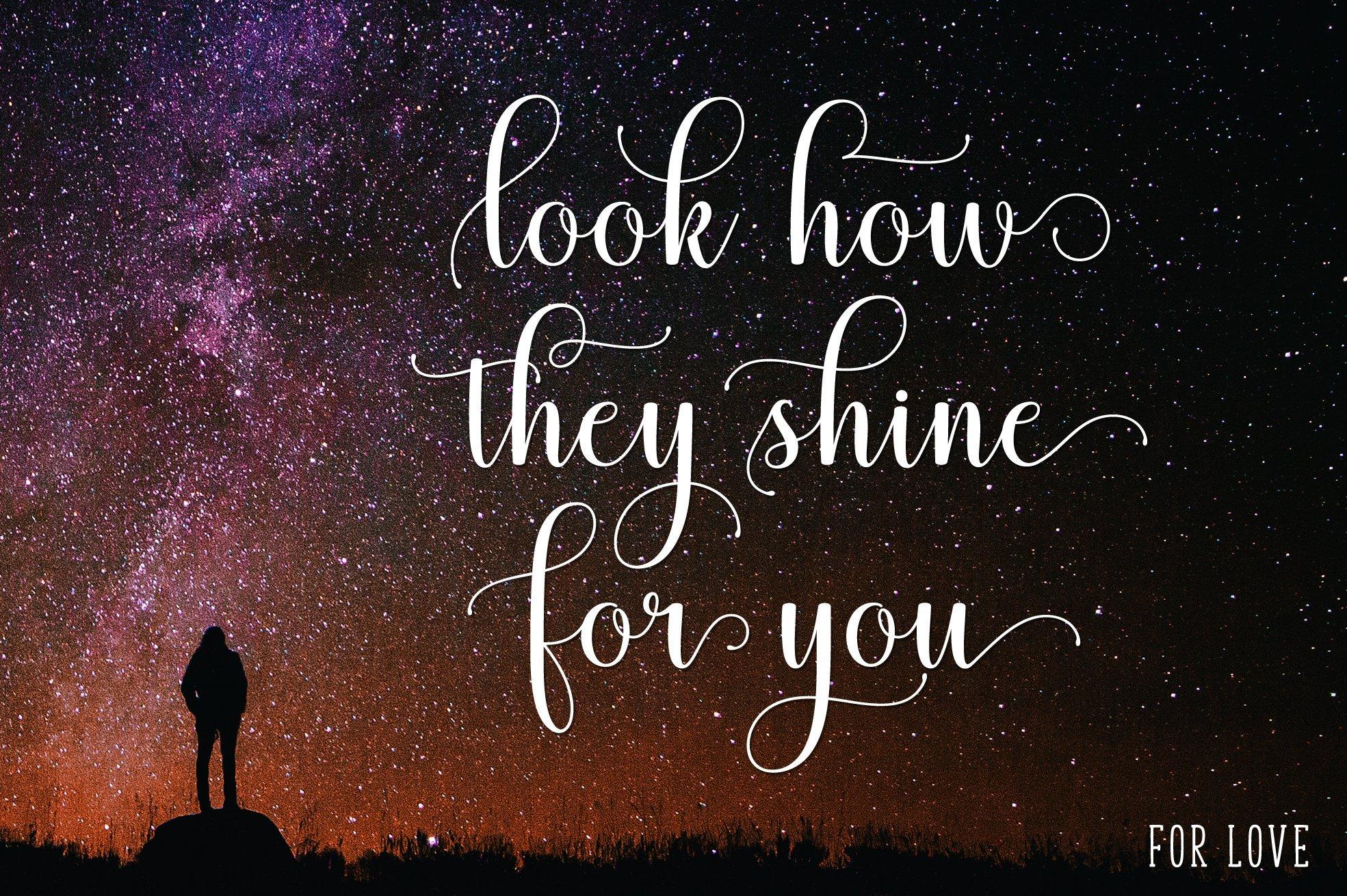 Romantic phrases around the star sky.