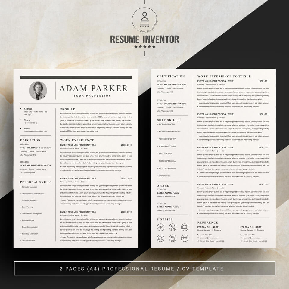 Two pages of this pattern. Web Developer Resume Template.