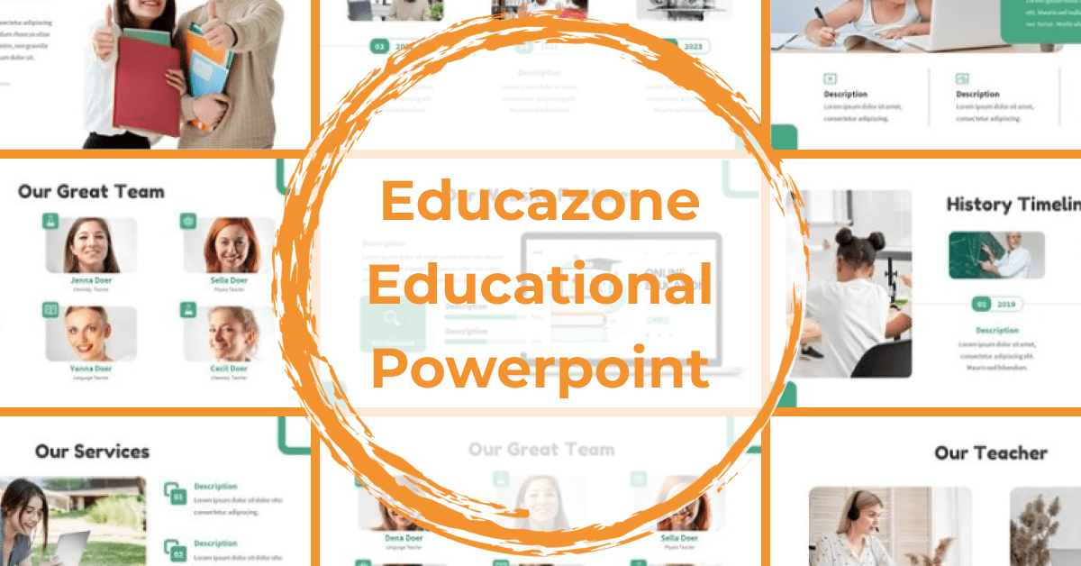 Green presentation template with orange circle.