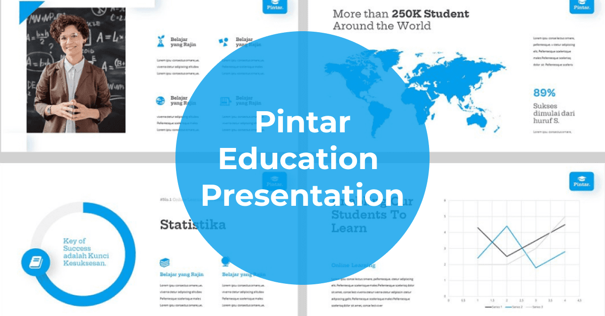 Blue presentation with infographics and maps.