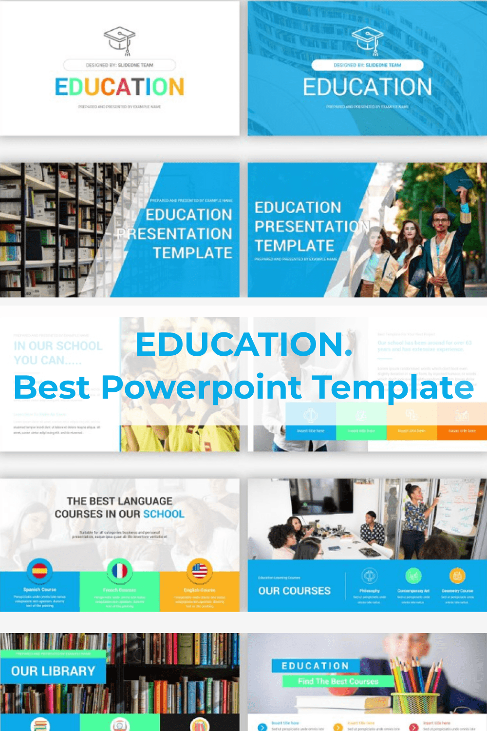 It is a bright and soft blue template with lots of text blocks.