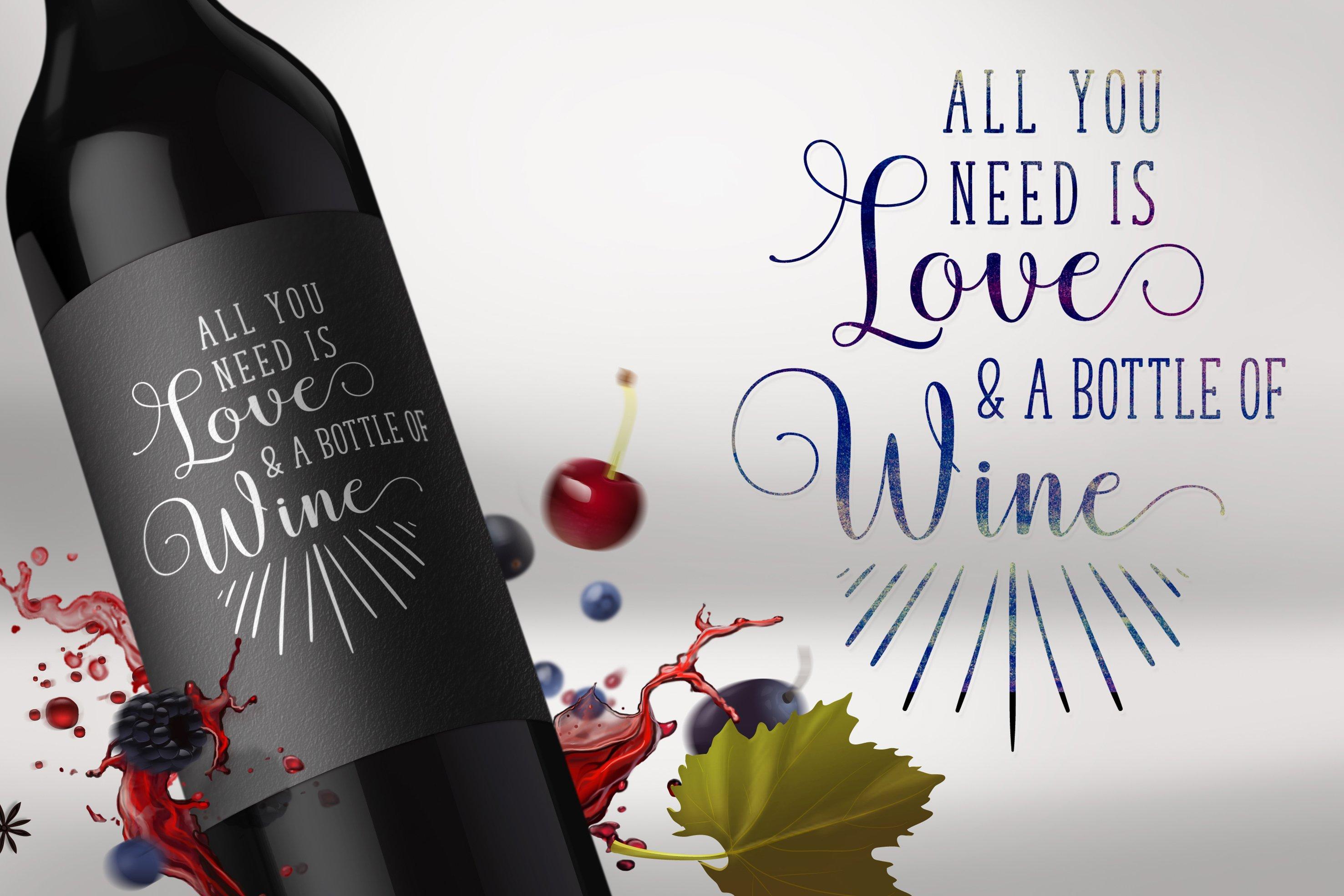 The wine matt black label and glossy black font. It looks luxury.