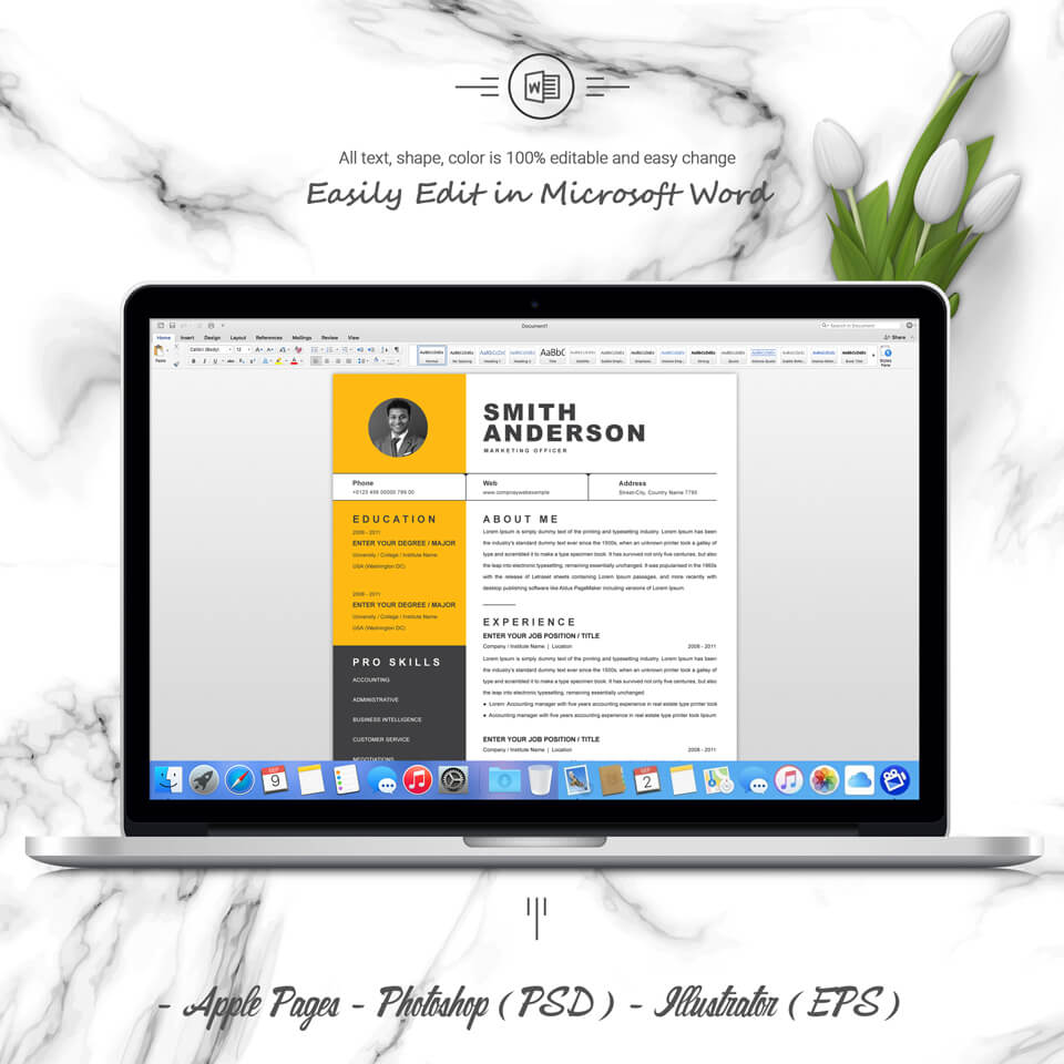 Desktop option of this template. Marketing Officer Resume Template.