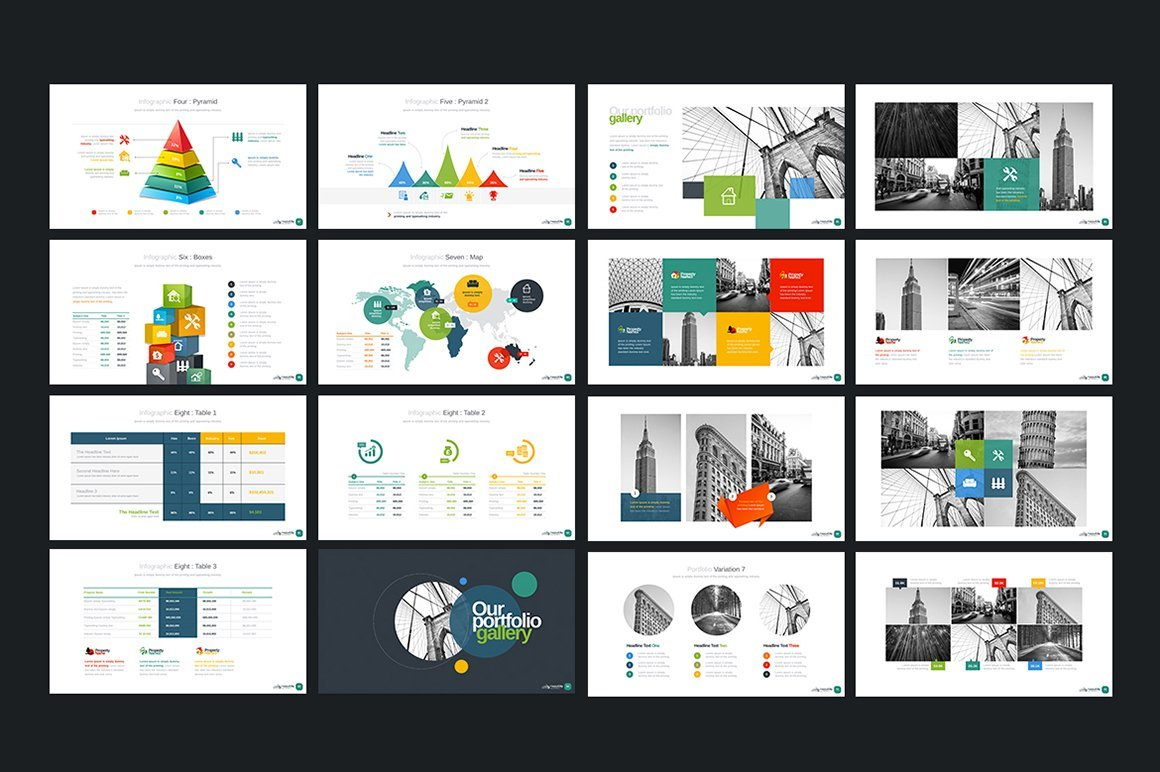 This template has a lot of bright and colorful infographics and charts.