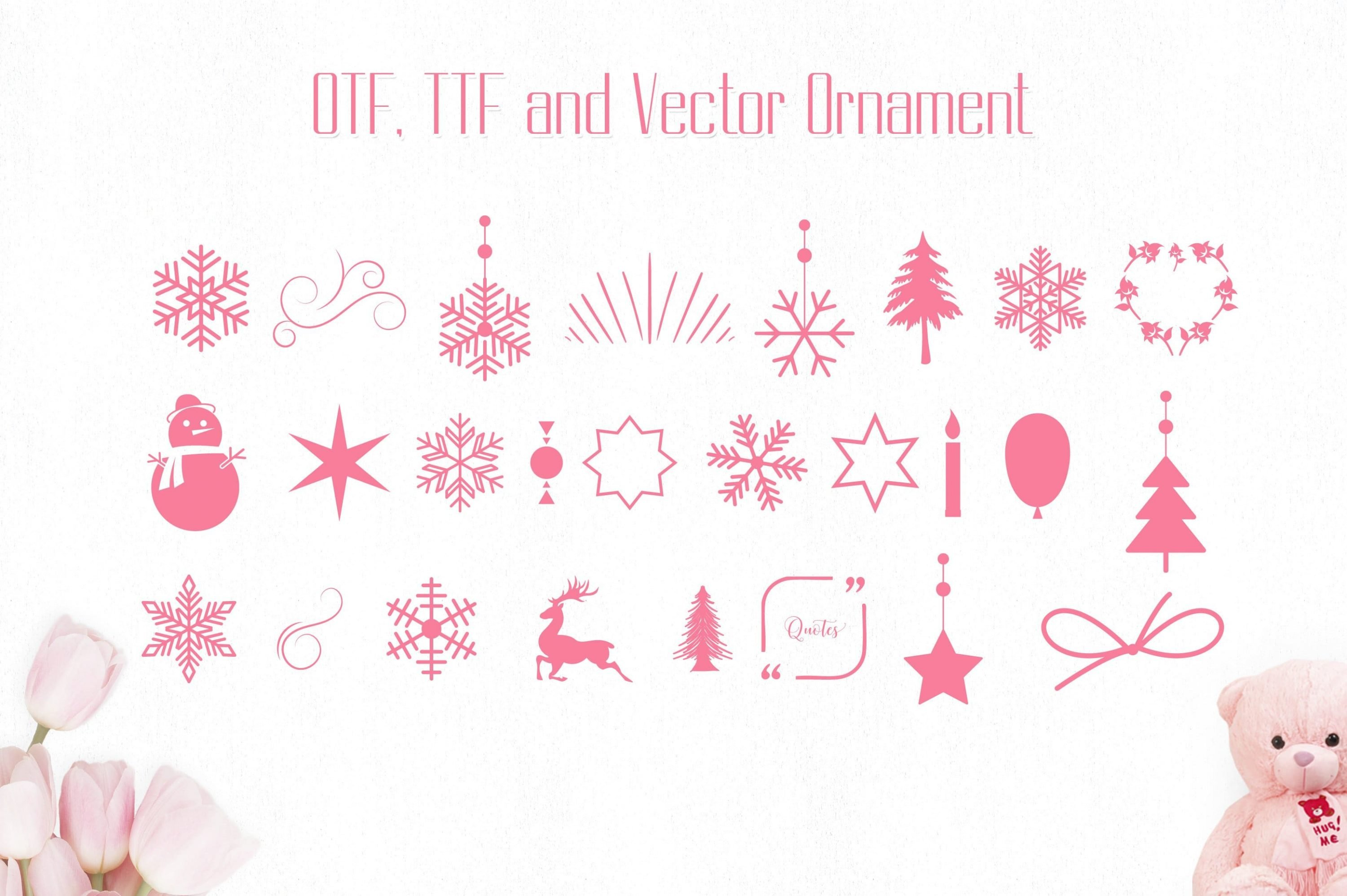Ornament set with different icons.