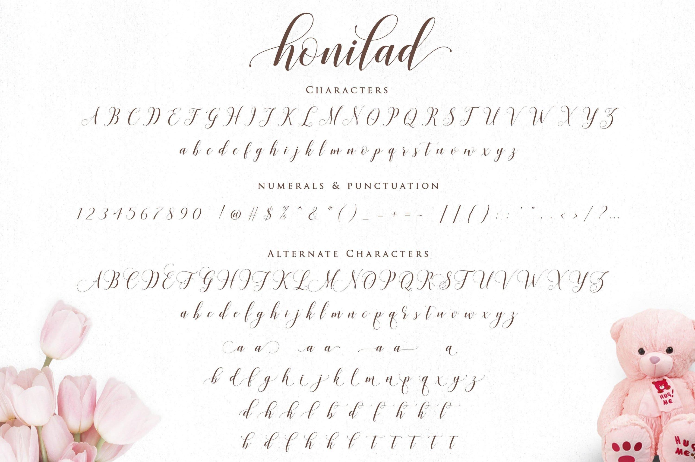 Honilad font characters.