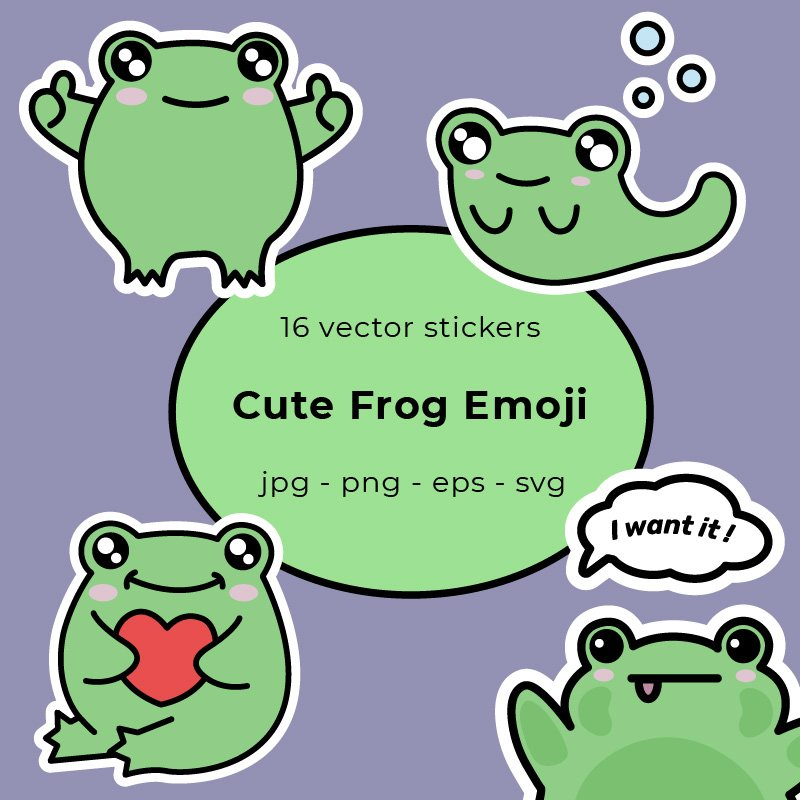Frog Stickers. 16 Vector Emoji Stickers with Cute Frog Example.