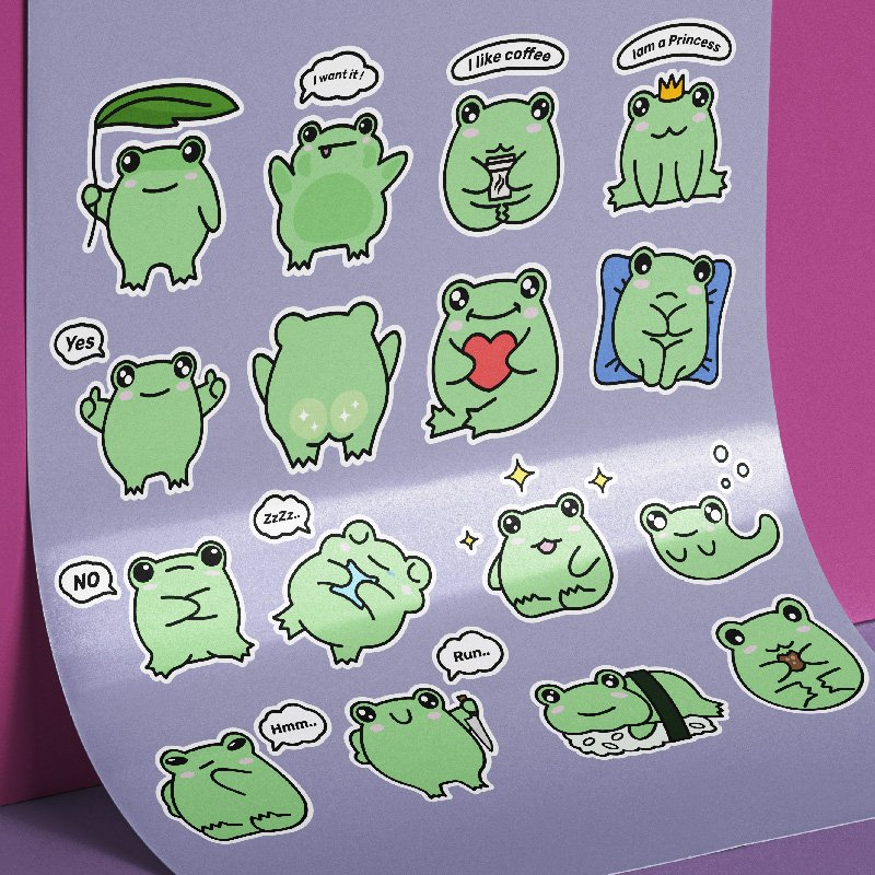 Frog Stickers. 16 Vector Emoji Stickers with Cute Frog cover image.