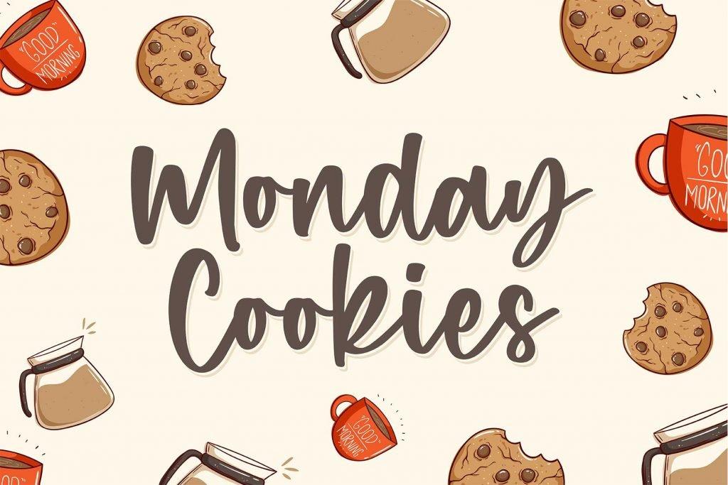 Monday Cookies - A Handwritten Script Font Facebook Collage Image.