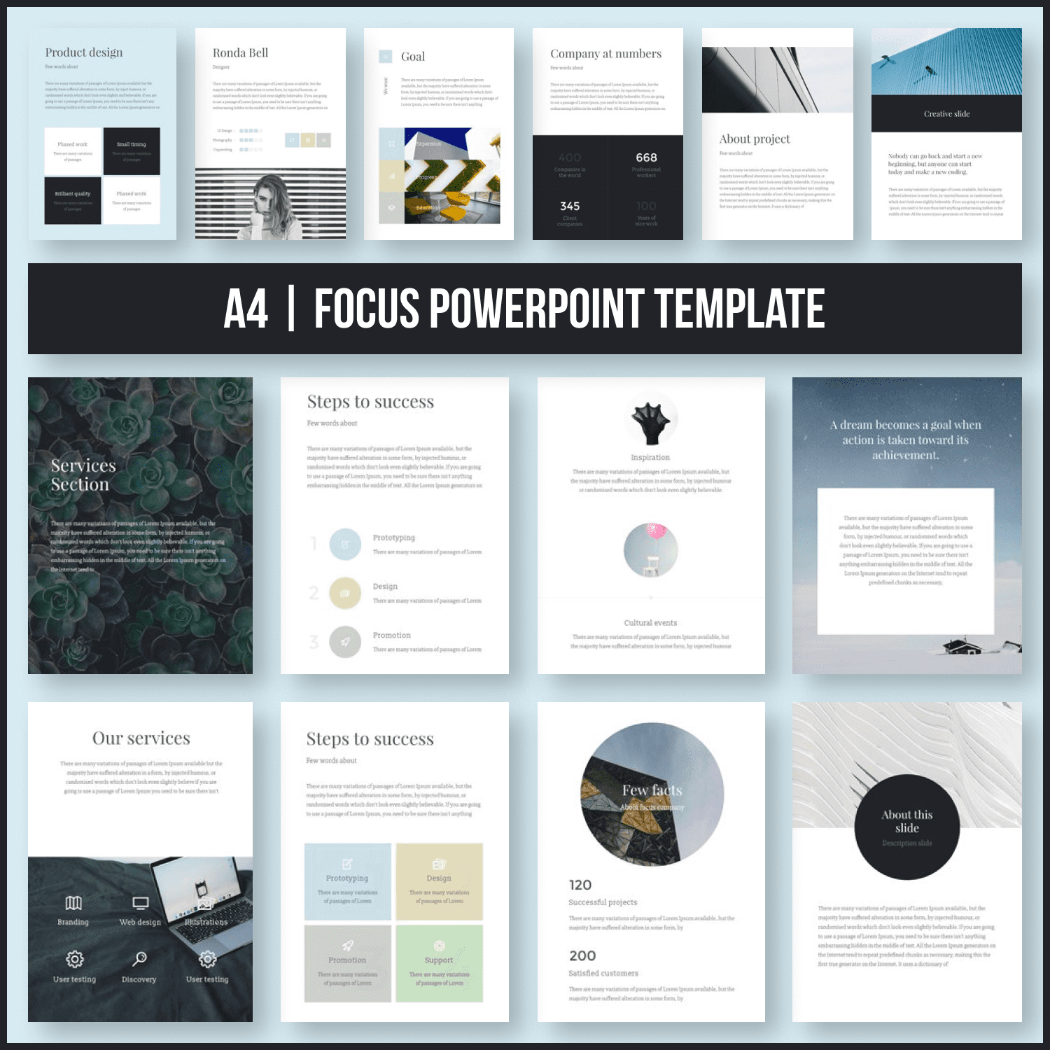 A4 Focus PowerPoint Template main cover.