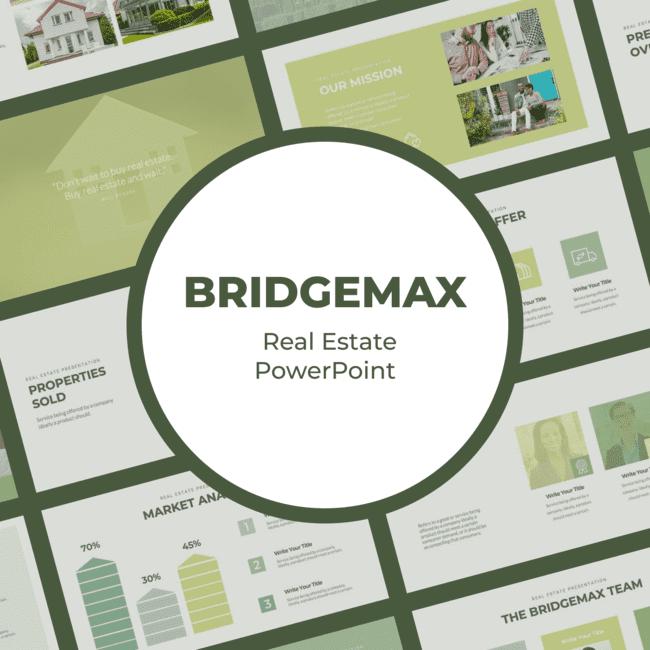 Bridgemax Real Estate PowerPoint main cover.