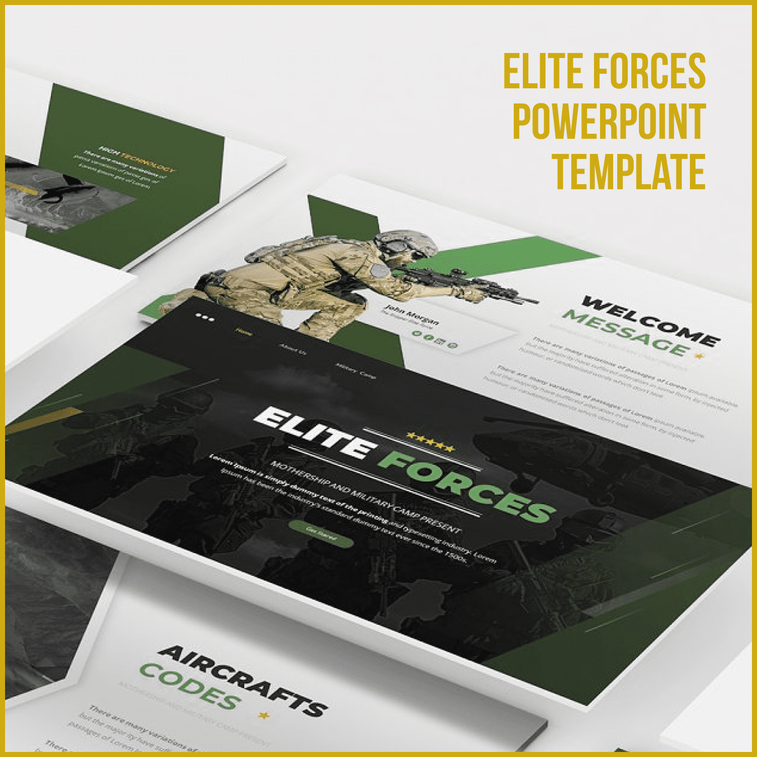 Elite Forces Powerpoint Template main cover.