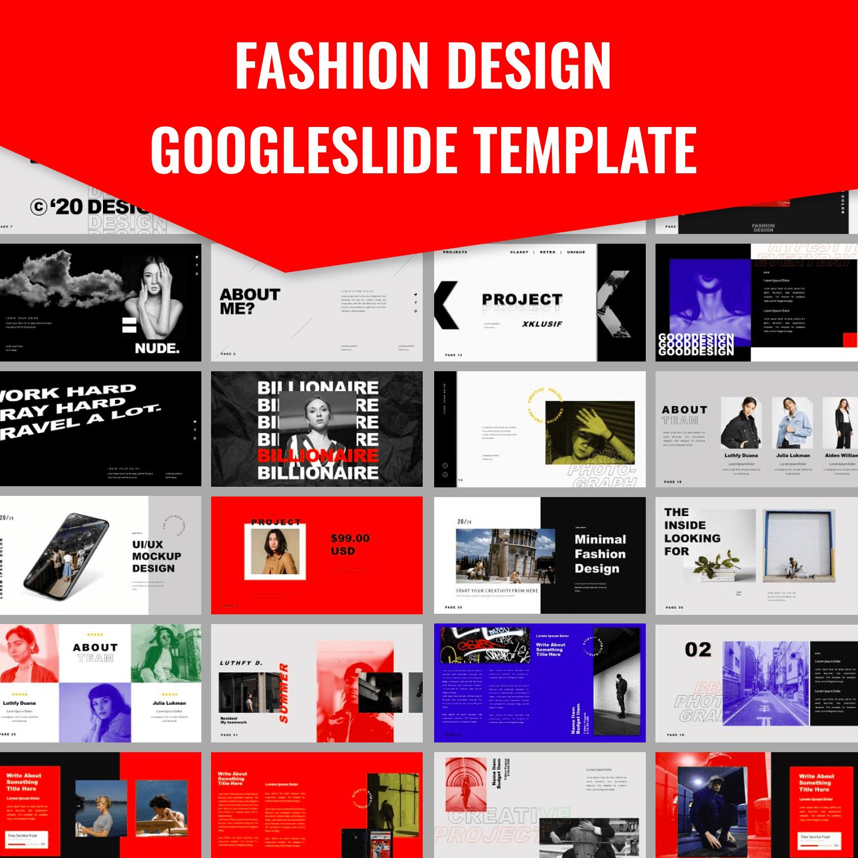 Fashion Design Googleslide Template main cover.