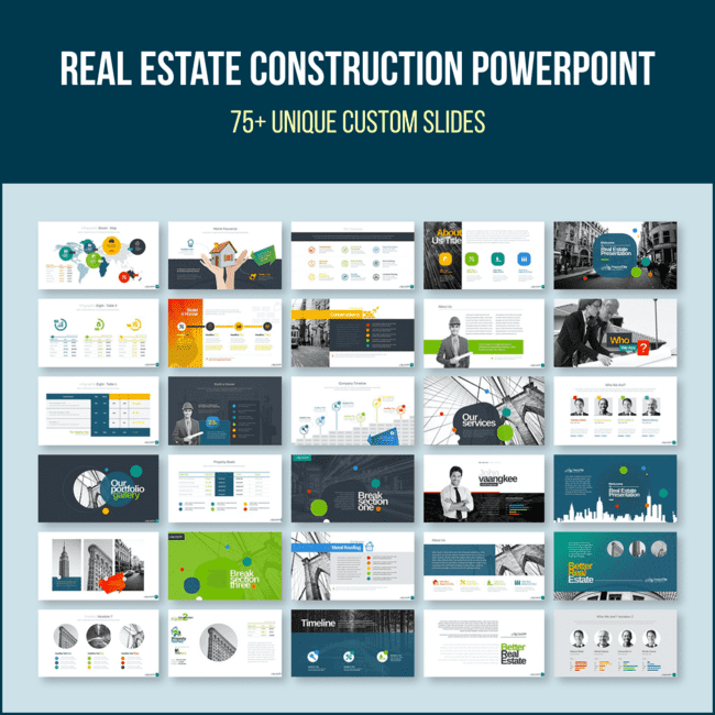 Real Estate Construction PowerPoint main cover.