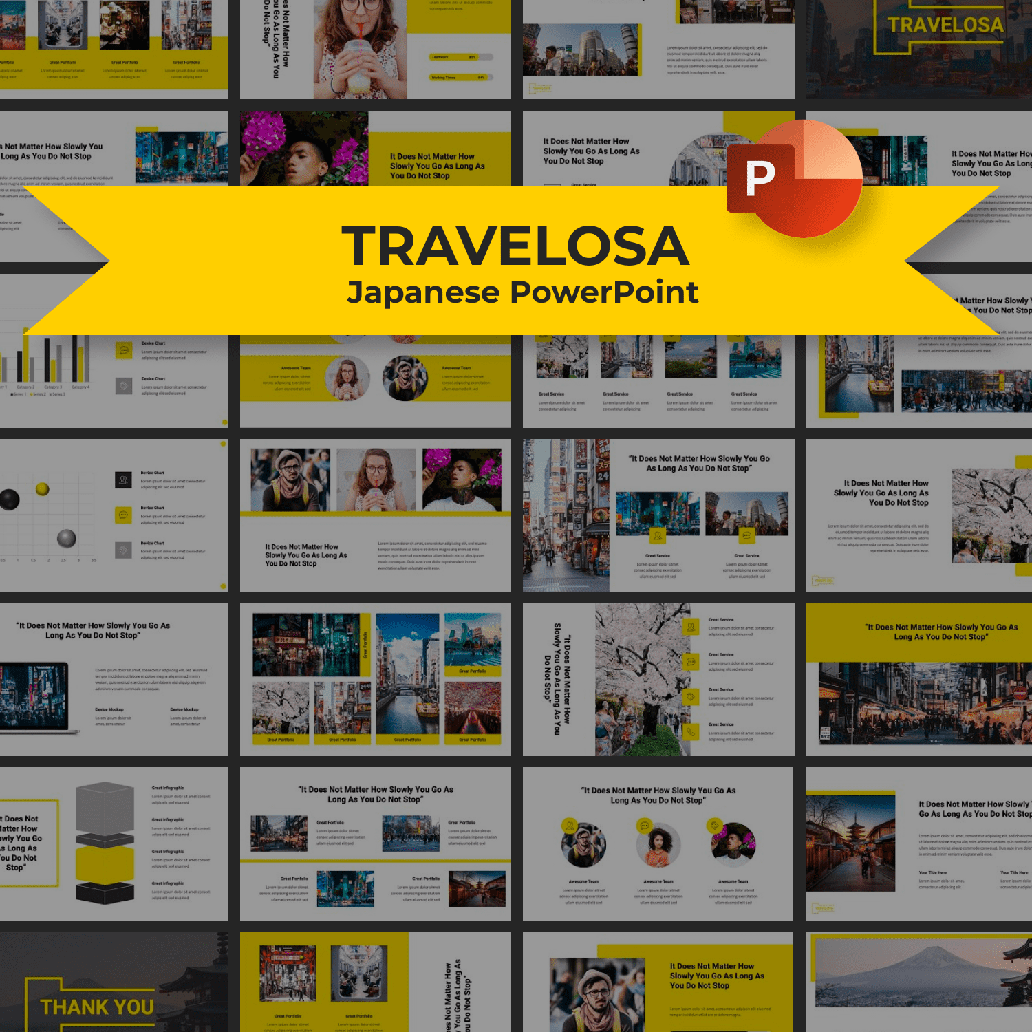 Travelosa Japanese PowerPoint Template main cover.