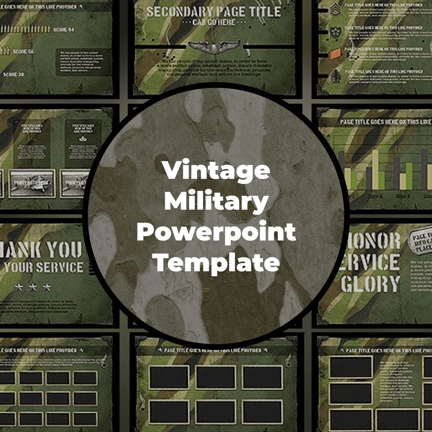 Vintage Military Powerpoint Template main cover.