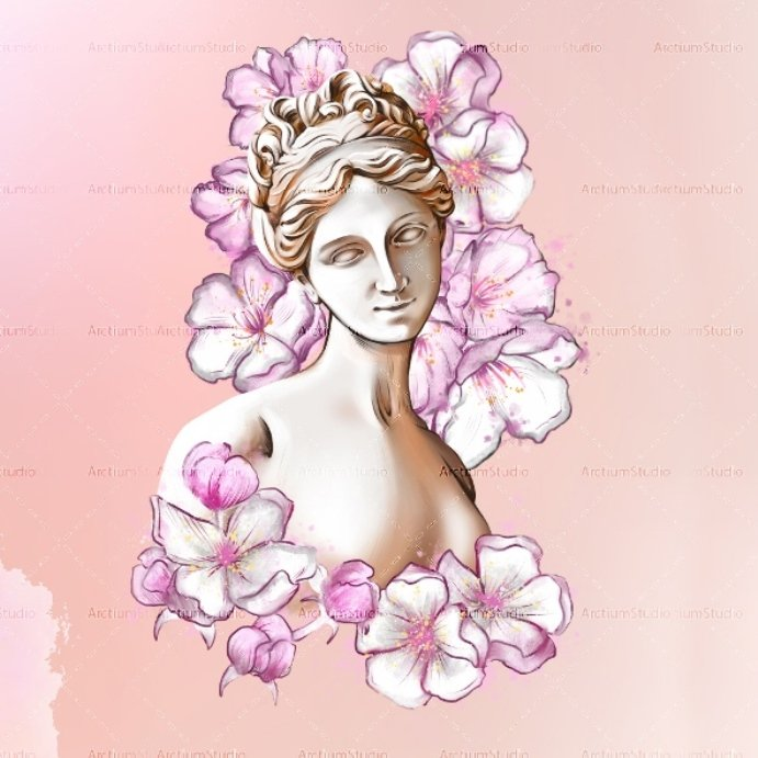Aphrodite in Flowers Clipart Digital Download Example.
