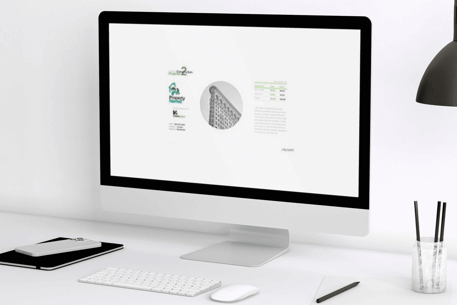 Desktop in laconic style with the real estate construction presentation.
