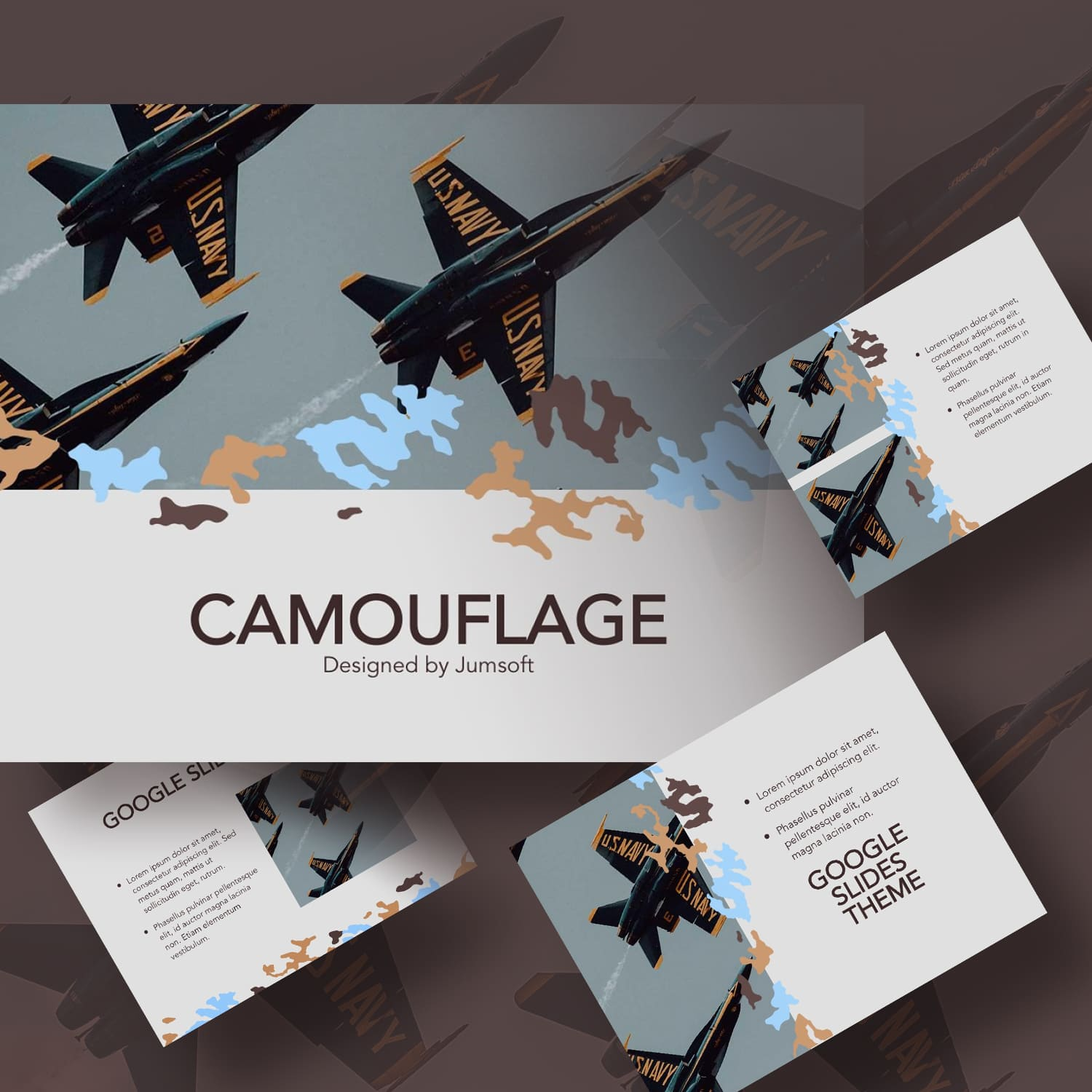 Camouflage Google Slides Template main cover.