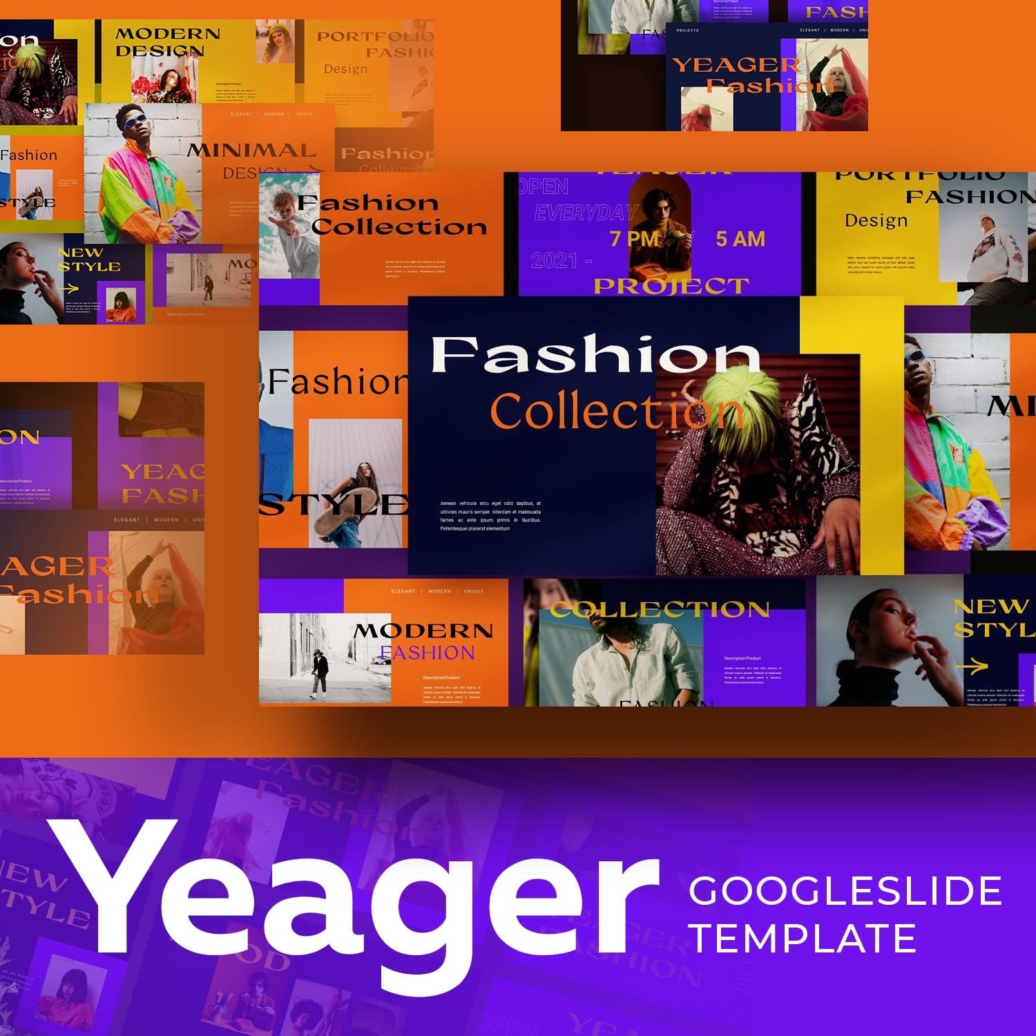 Yeager Googleslide Template main cover.