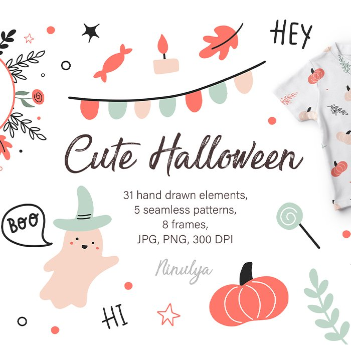 Cute Happy Halloween Clipart, Seamless patterns, Frames, Hand drawn illustrations main cover.