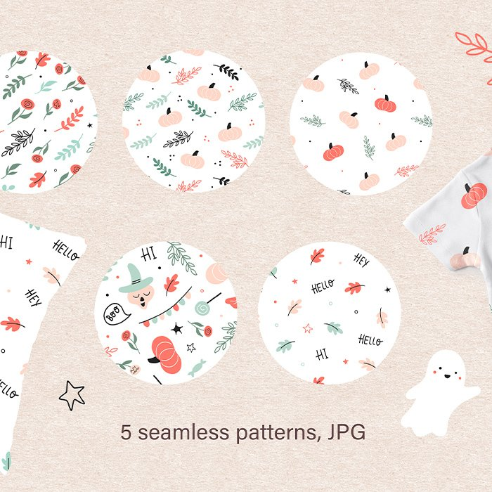 Cute Happy Halloween Clipart, Seamless patterns, Frames, Hand drawn illustrations cover image.