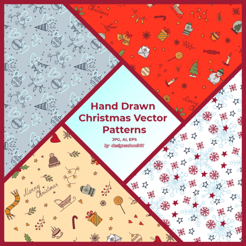 Hand Drawn Christmas Vector Patterns main cover.