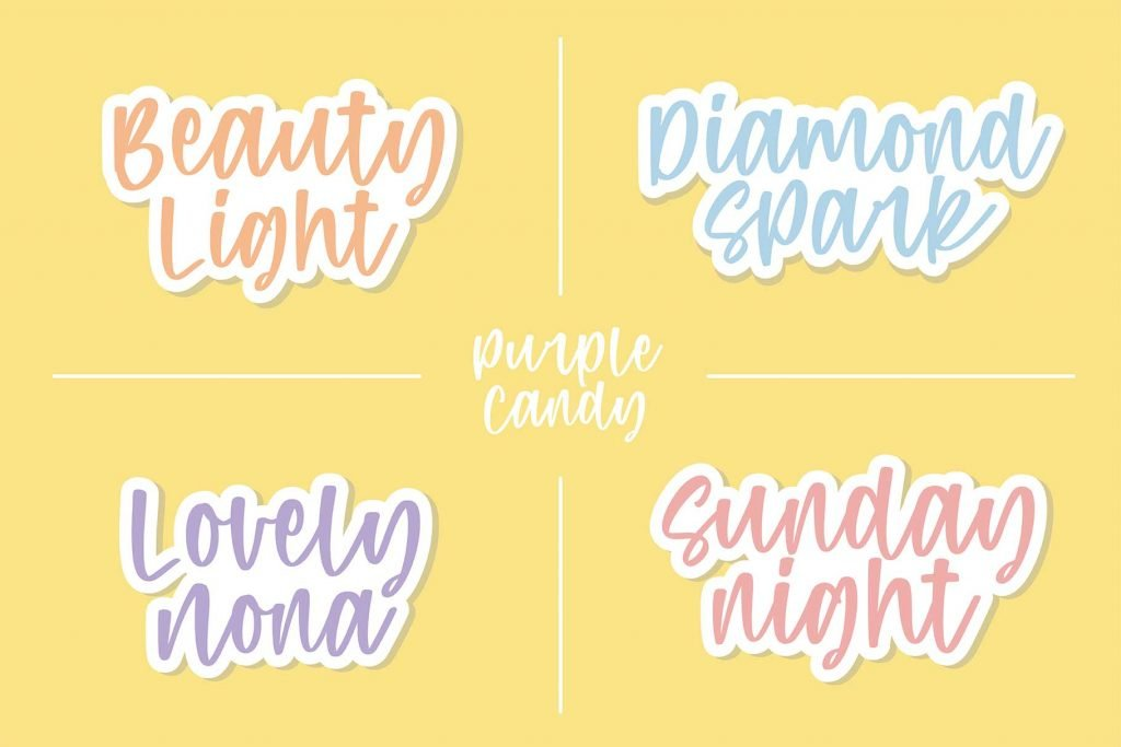Purple Candy - Playful Script Font Bright Example Phrases Preview.