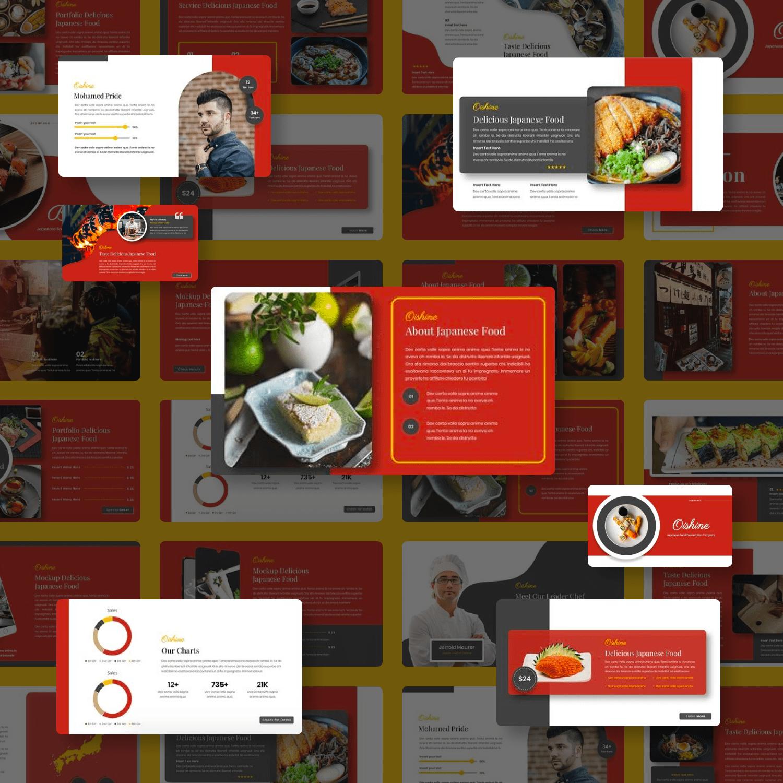 Oishine Japanese Food Googleslide cover image.