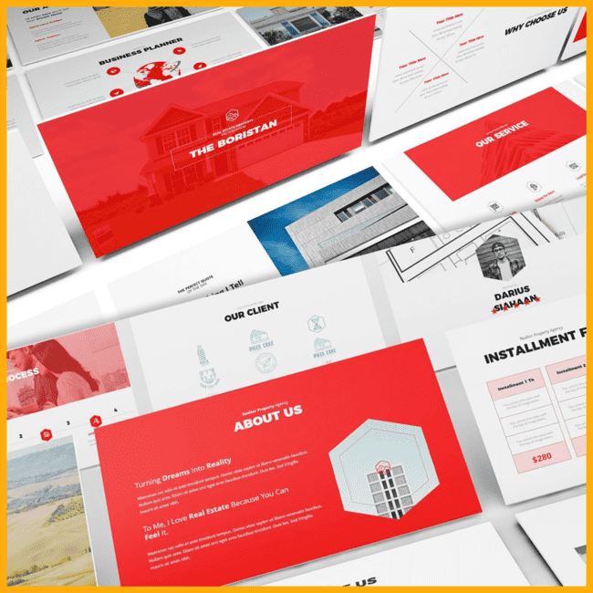 Real Estate Powerpoint Template cover image.