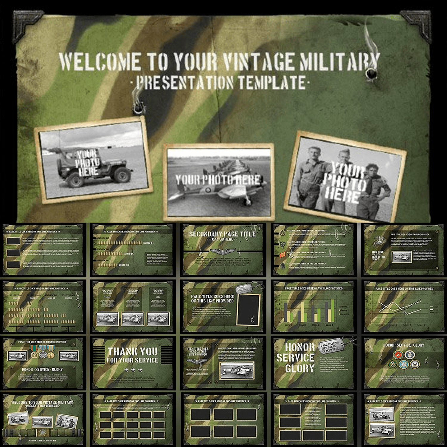 Vintage Military Powerpoint Template cover image.