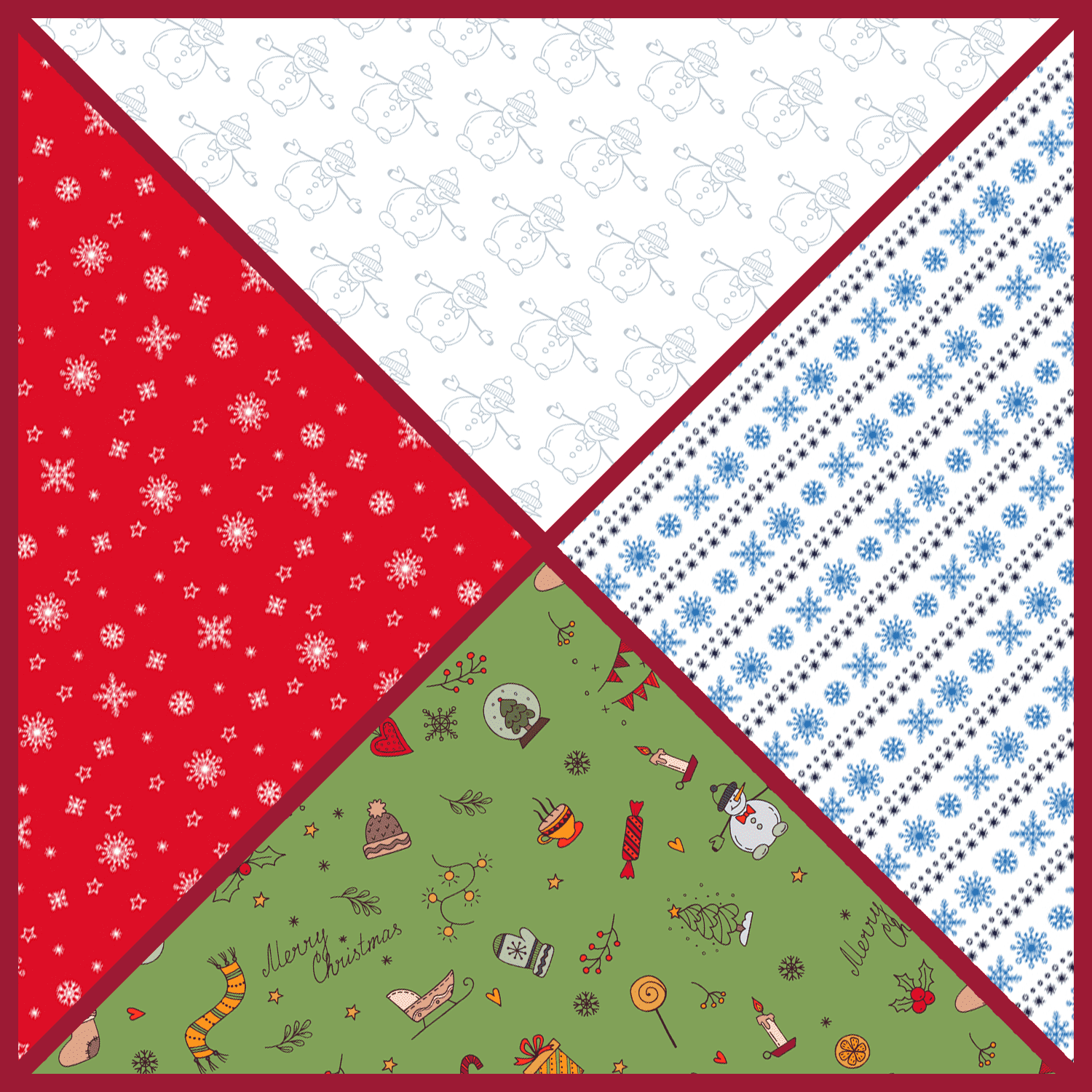 Hand Drawn Christmas Vector Patterns cover image.