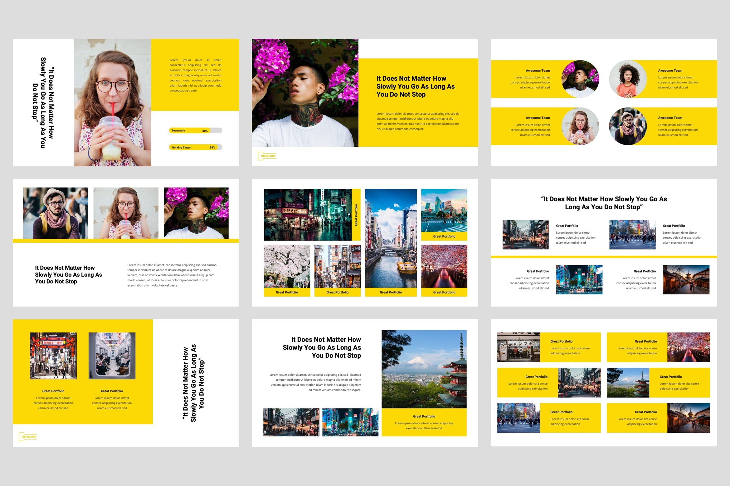 This template can coolly describe complex business themes as well as modern fashion trends.