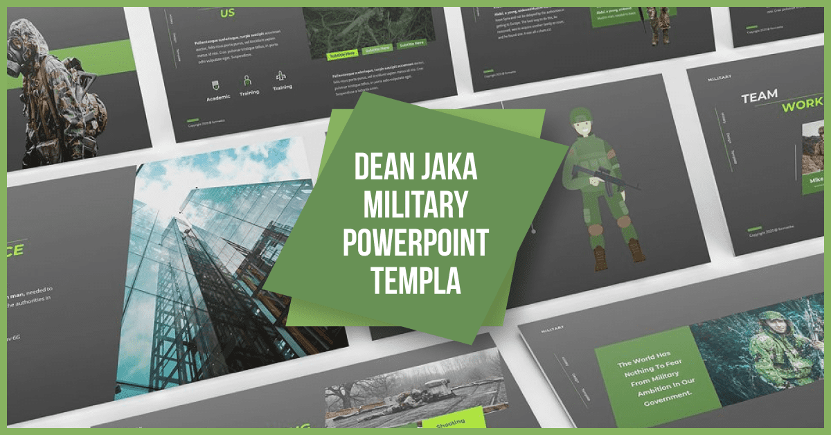 The template is on the edge - it is created in trendy greens and in a military style.