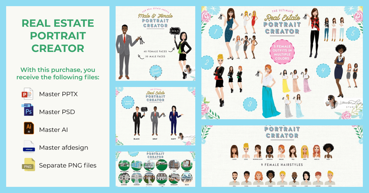 Illustrated template in an entertaining style for real estate agencies.