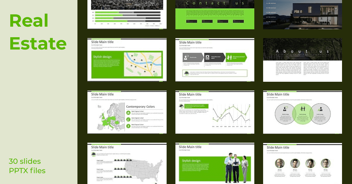 Green template with a lot of infographics and diagrams.