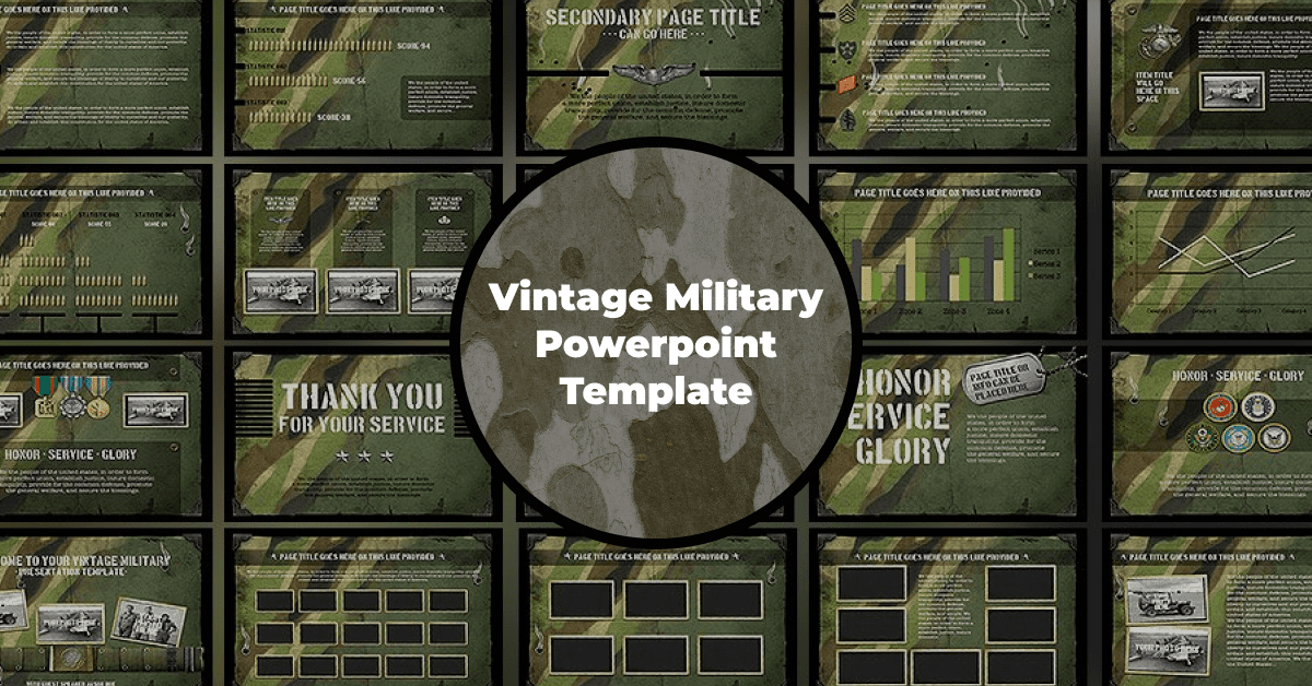 The classic selection of colors and elements for a military theme.