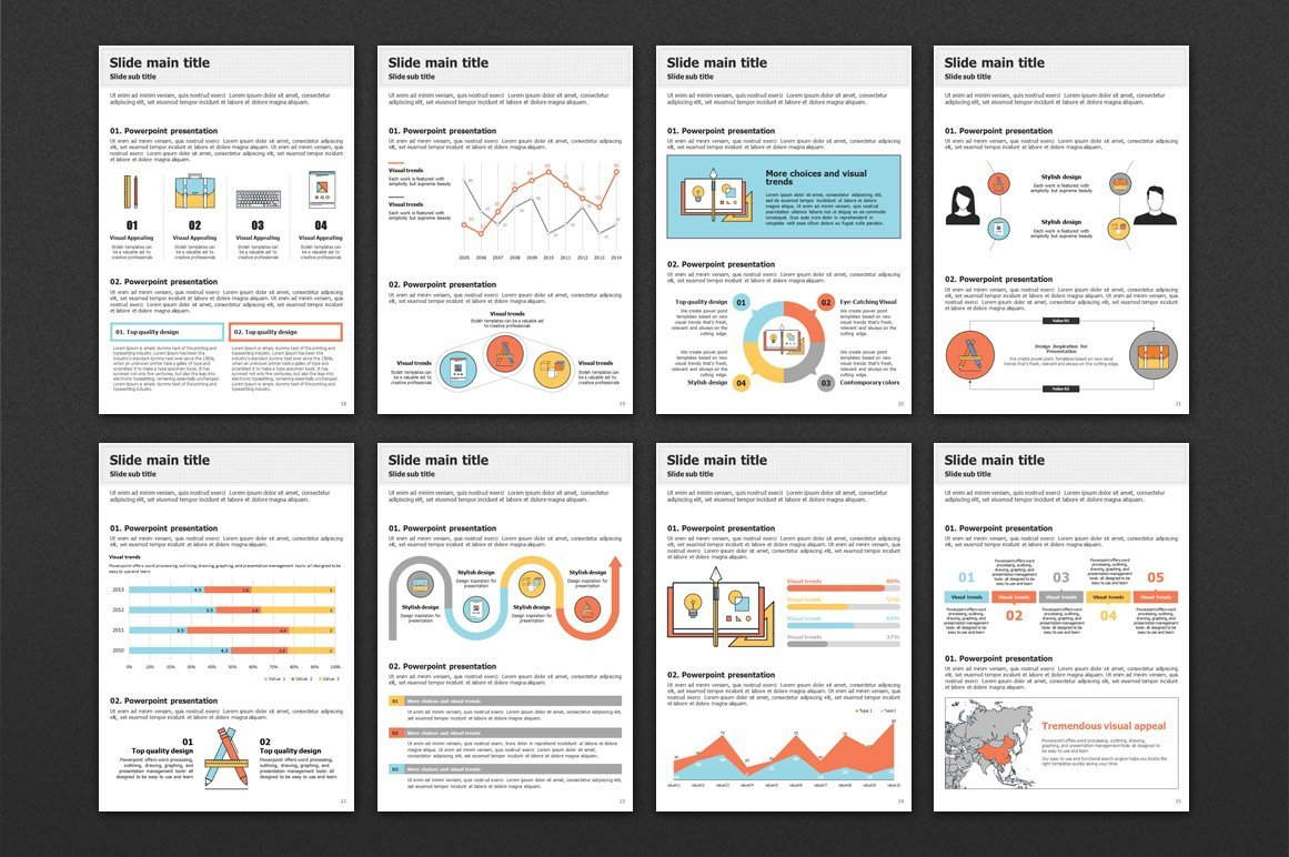 All infographics of the template will allow you to convey complex information in simple words.