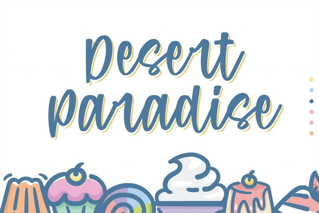Purple Candy - Playful Script Font with Yummy Cakes.