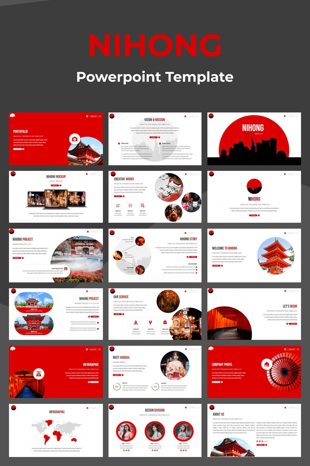 There are distinctive Japanese features here that make the template themed and unique.