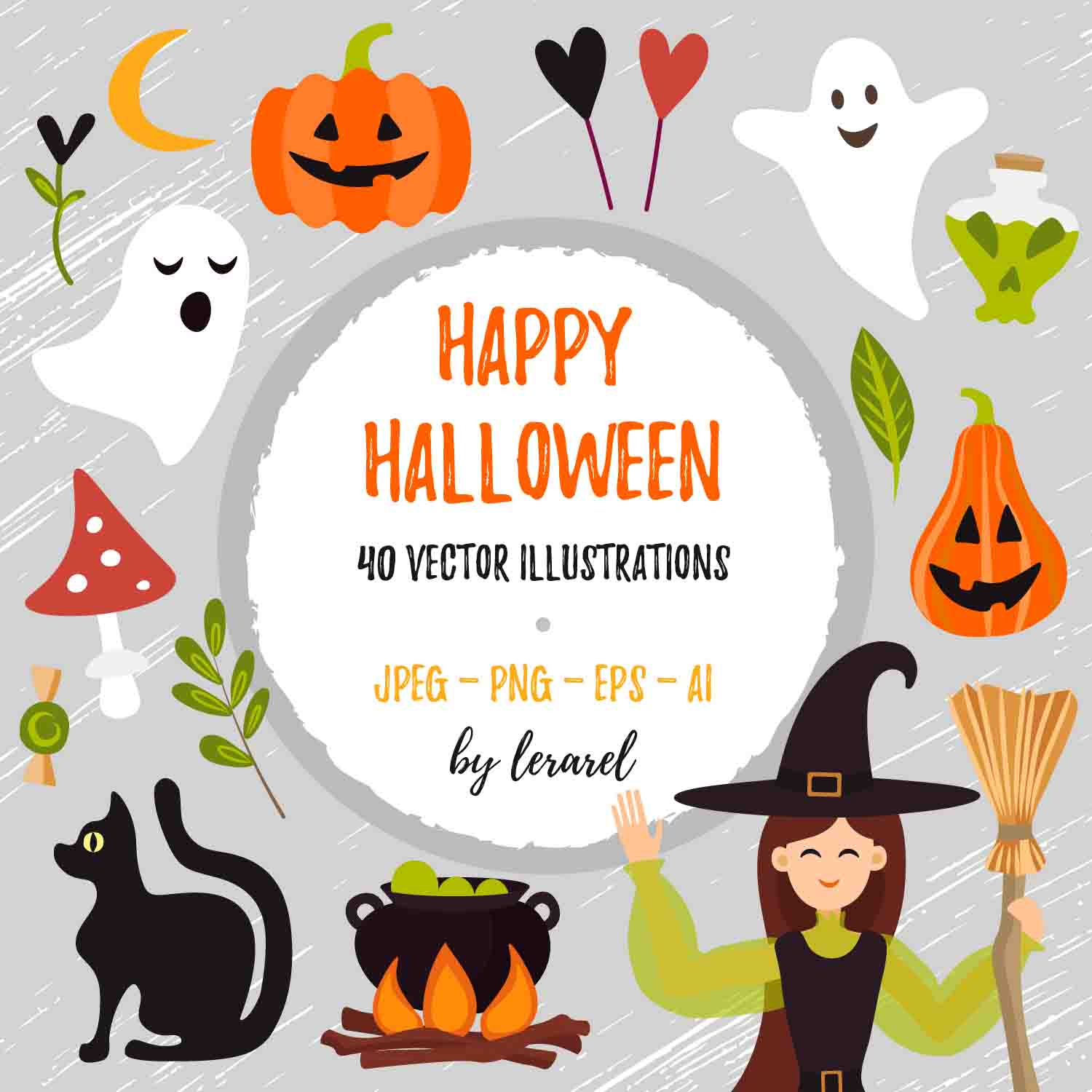 40 Happy Halloween Vector Illustrations cover image.