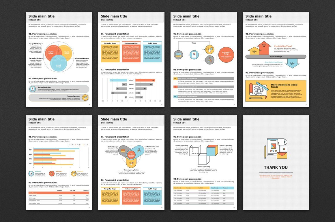 The template has a color contrast, which makes information easier to perceive.