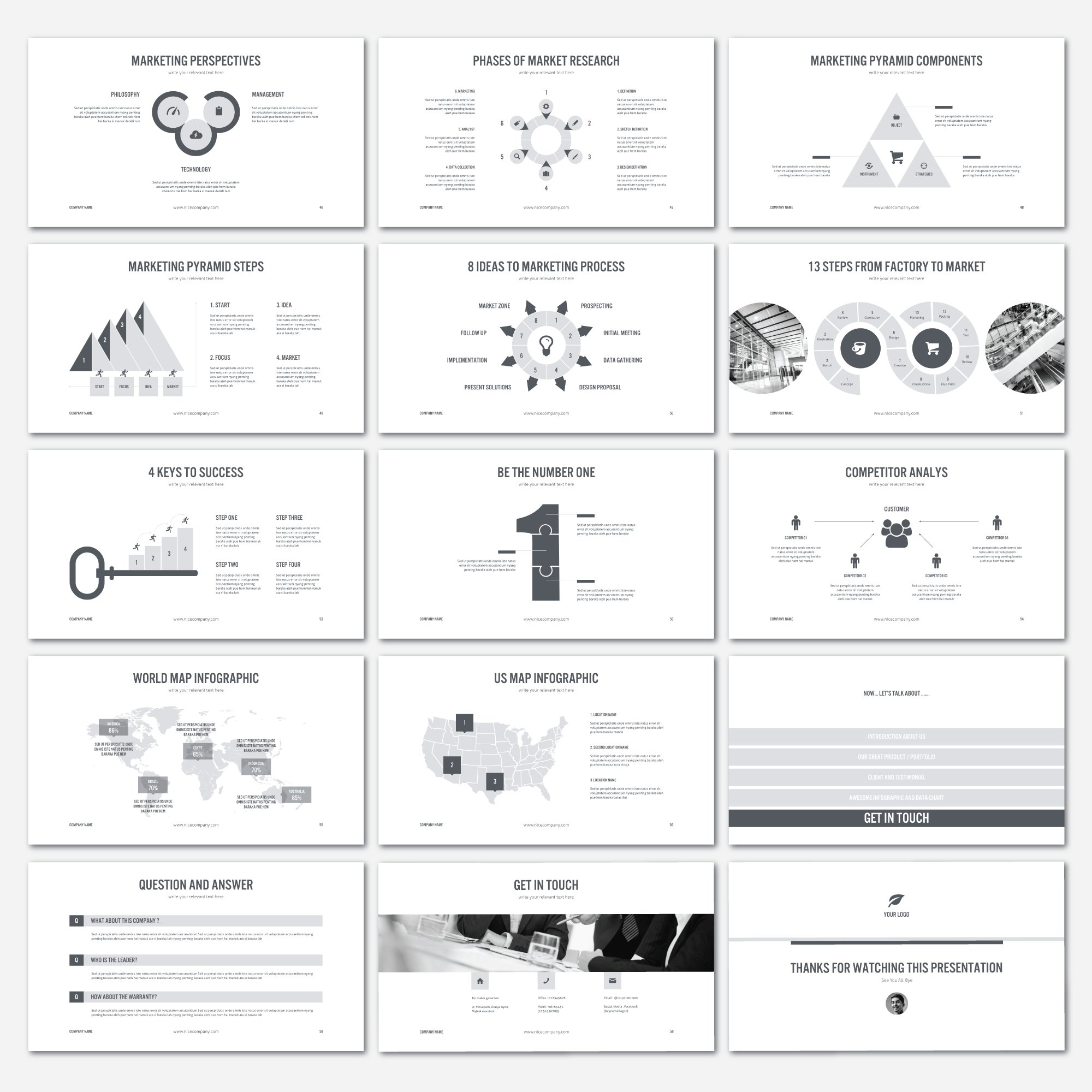 The template provides a collection of modern infographics that make your presentation unique.