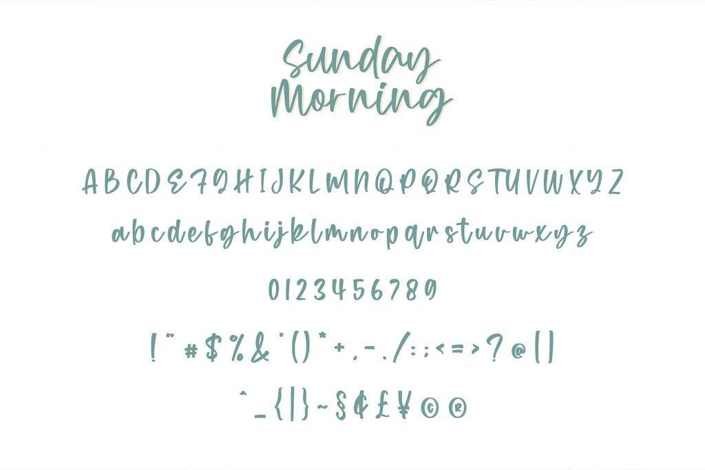 Sunday Morning - A Handwritten Script Font Alphabet Preview.