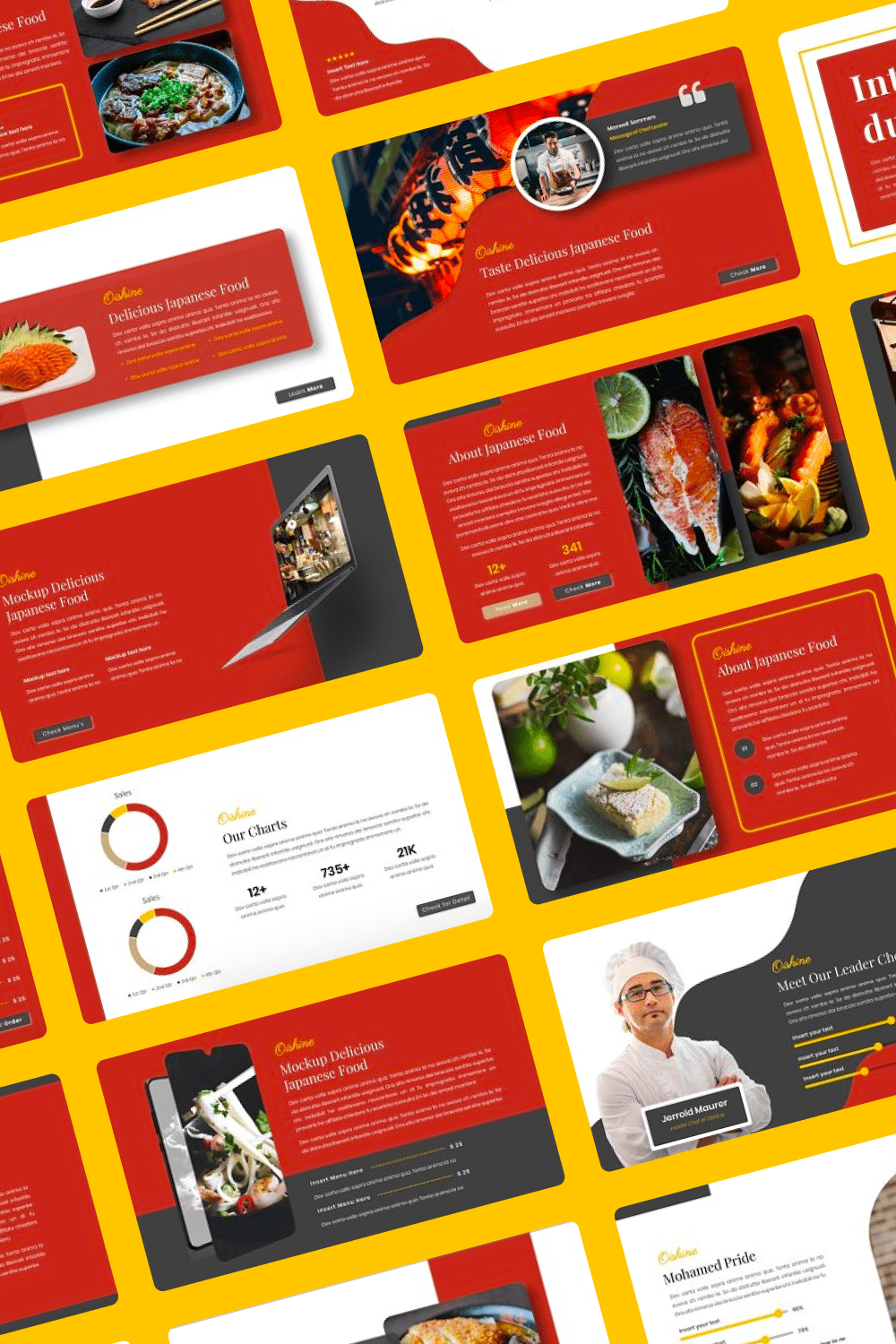 Red is the color of Japan, even the flag has it. By using symbolic and traditional colors in your presentation, you increase the chance of success.
