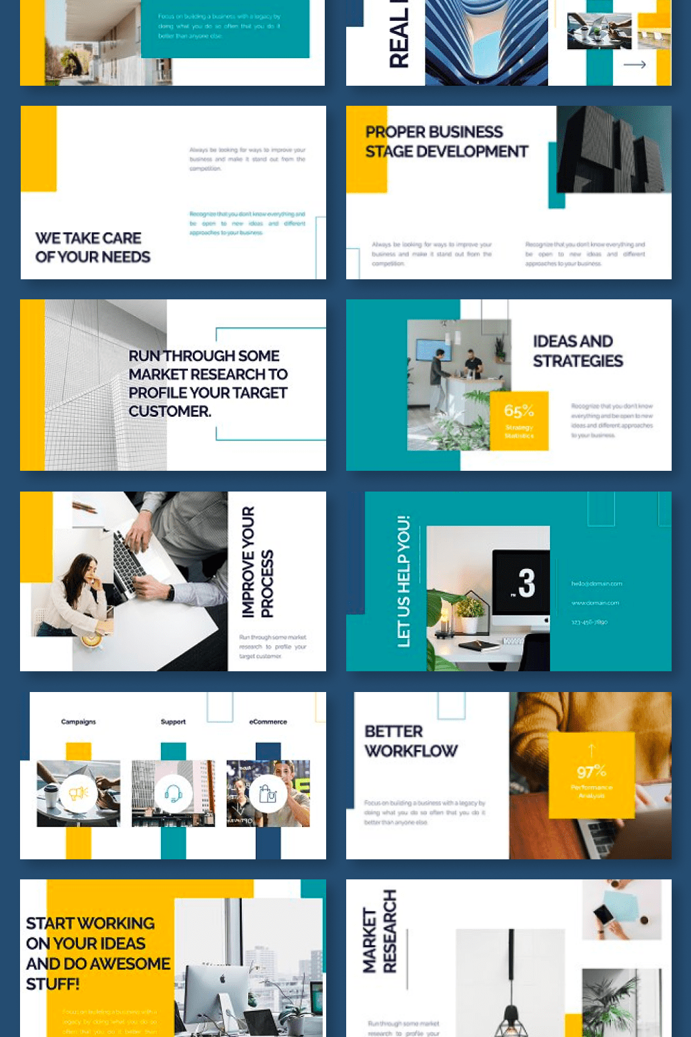 Everything is beautiful in this template - color, visual combination and infographics.